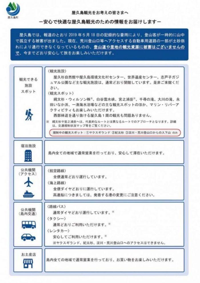 5月18日の豪雨による観光登山情報について(Information for sightseeing)【2019.5.22更新】